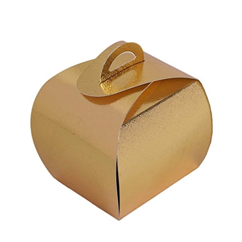 Efavormart 25pcs Gold Cupcake Purse Favor Boxes for Candy Treat Gift Wrap Box Party Favor Boxes for Bridal Shower Wedding (Personalized Favor Box Wraps)