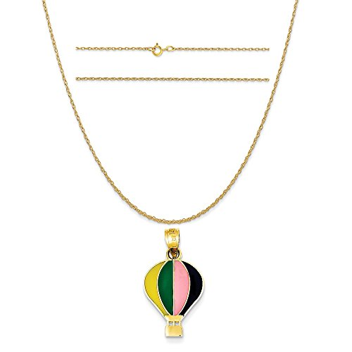 (K&C 14k Yellow Gold Enameled Yellow Green Pink Black Hot Air Balloon Charm on Rope Chain Necklace, 16