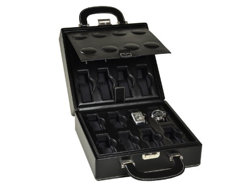Scatola del Tempo16B Leather Collectors 16 Watch Carry Travel Case
