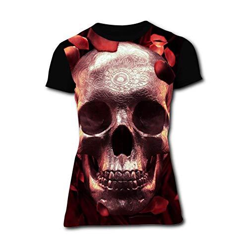 Womens Fashion Rose Petals Skull Comfortable Short-Sleeve T-Shirts Tees S Funny Creative