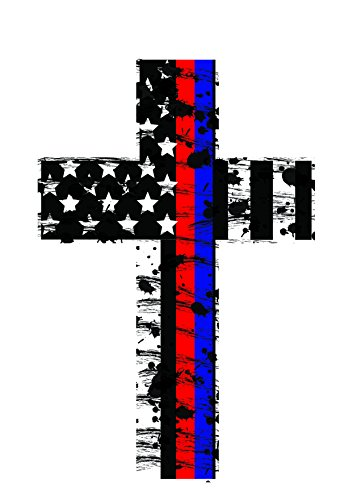 Thin Red and Blue Line Crosses (2 pack) Highly reflective. Subdued Us Flag Reflective Decal Honoring our Firefighters, Police, EMT, and Paramedics - Firefighter Emt Decals