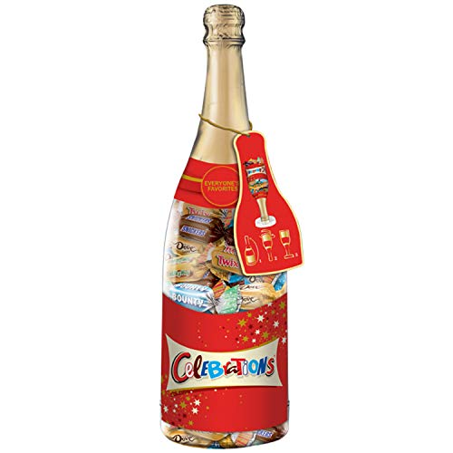 CELEBRATIONS Chocolate Variety Mix Christmas Candy Bars in a 21-Ounce Champagne Bottle -