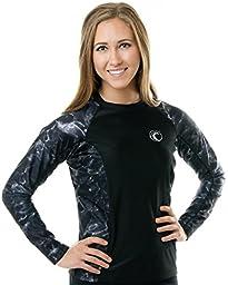 Aqua Design Women\'s Long Sleeve Big Wave Comfort Fit Rash Guard, Black Water, M