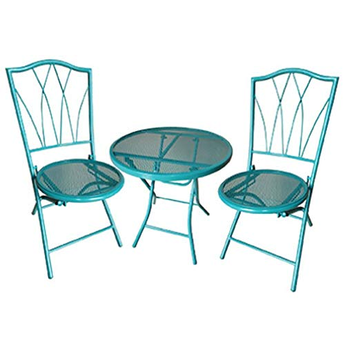 Courtyard Creations 227699 Four Seasons Avalon Bistro Set with Chair & Table44; Teal - 3 Piece