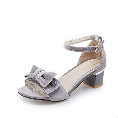 BalaMasa Womens Bows Chunky Heels Metal Buckles Suede Sandals Gray