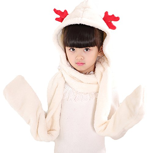 PULAMA Novelty Animal Hat Cosplay Cap - Unisex Fit Adult & Children- Soft Warm Headwraps Headwear with Mittens (Winter Hat White)