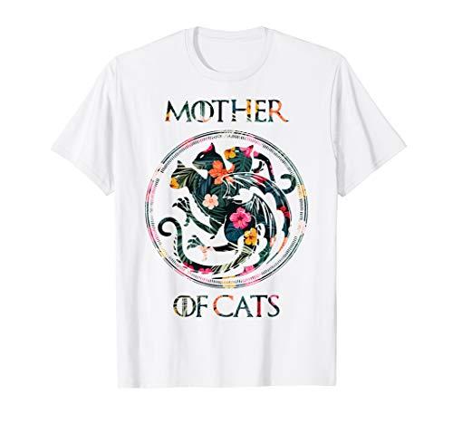 Cat Lovers Shirt - Mother of Cats Mix Flower T-Shirt