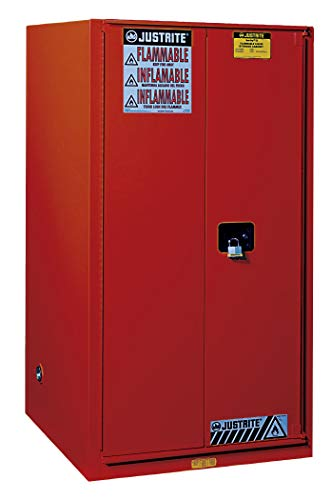 Justrite 896031 Sure-Grip Combustibles Cabinet, Self-Close, 96 Gal, Red