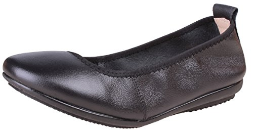 Kunsto Women's Comfort Leather Ballet Flats Shoes US Size 8.5 Black