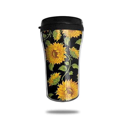 FTRGRAFE Yellow Sunflower Travel Coffee Mug 3D Printed Portable Vacuum Cup,Insulated Tea Cup Water Bottle Tumblers for Drinking with Lid 8.54 Oz (250 Ml)