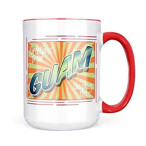 Neonblond Custom Coffee Mug Greetings from Guam, Vintage Postcard 15oz Personalized ()