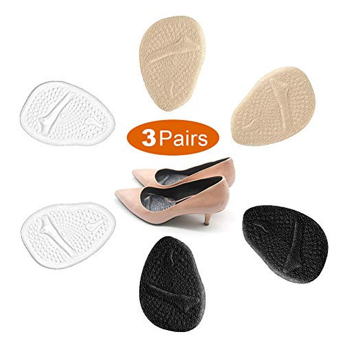 3 Pairs Metatarsal Pads for Women, Professional Reusable Silicone Ball of Foot Cushions, All Day Pain Relief and Comfort, One Size Fits Shoe Inserts, by Mildsun. (Best Shoe Cushion Inserts)