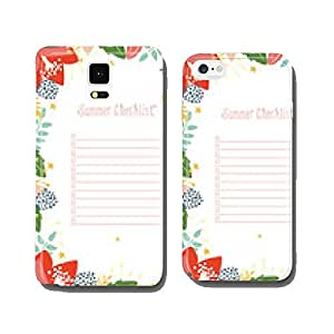 Summer Checklist Notepad with floral frame. Vector design. cell phone cover case Samsung S6