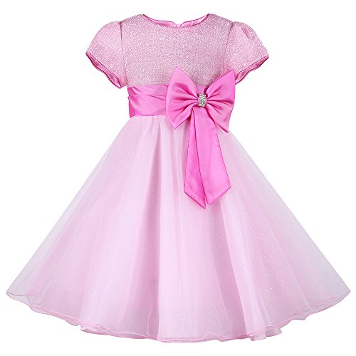 Pink Satin Party Dress (HUANQIUE Little Girls Wedding Flower Girl Dress Princess Pageant Dress Pink 6-7 T)