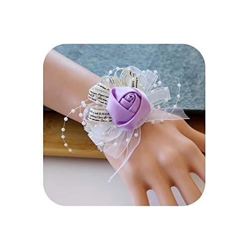 Wedding Corsage Bracelet Cuff Bracelets Purple Pink Roses Corsage Flowers Wedding Bracelet for Women,Light Purple
