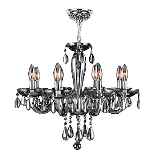 - Worldwide Lighting Gatsby Collection 8 Light Chrome Finish and Smoke Blown Glass Chandelier 22