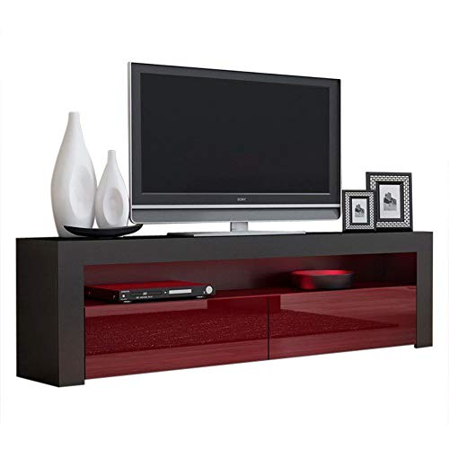 Concept Muebles Milano Collection Wooden Stand For TV Up To 70-Inch with Led Lighting and High Gloss Finish, Black and Burgundy ()
