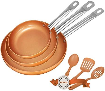 Nonstick Frying Pan Set Copper Cookware set Pan set 6 Piece Copper Fry Pan se