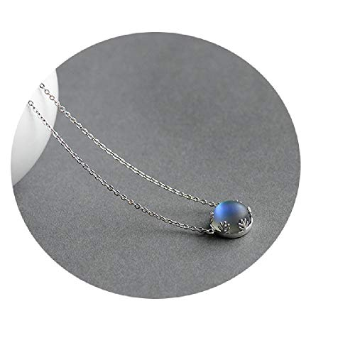 Aurora Forest Necklace Halo Crystal Gemstone Silver Scale Light Pendant Necklace for Women Jewelry Dark 45cm]()