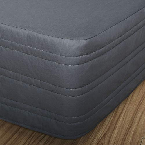 MARQUESS Bed Skirt Polyester Blended Quilted, Hang Down Feeling Enhancement,Ultra Soft,Dust-Proof, Wrink and Fade Resistant Dust Ruffle with 13 Inch Tailored Drop,76×80 (Charcoal, King)