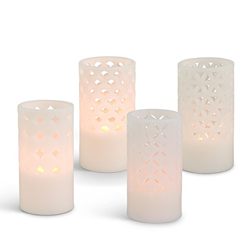 Gerson Everlasting Glow 42748 Wax Carved Flameless LED Pillar Candle, 3.11