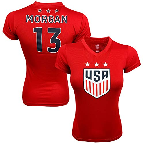 USA Alex Morgan Soccer Jersey RED for Women and Girls, Official US Morgan Number 13 Training Jersey (Adult -