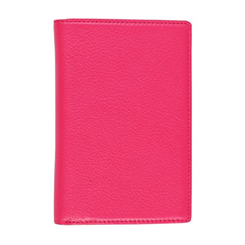 Genuine Leather RFID Blocking Passport Case No Skimming Currency Wallet Hot Pink