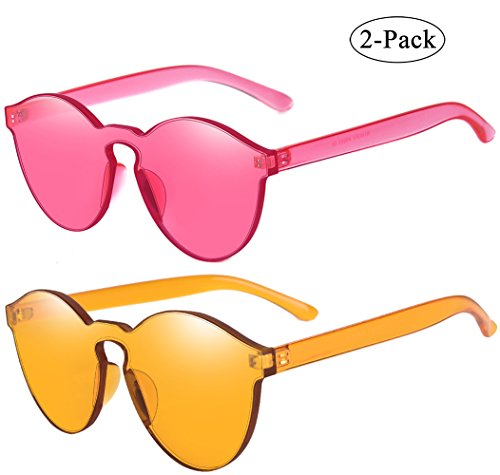 Rimless Fashion Sunglasses - One Piece Rimless Sunglasses Transparent Candy Color Eyewear