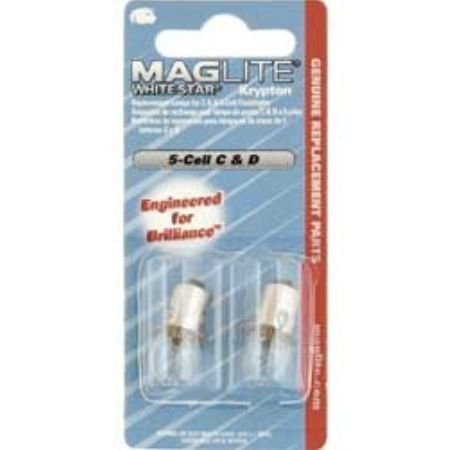 MAGLITE LWSA501 Replacement Lamp for 5-C Cell/D-Cell Flashlight (White Star Krypton)