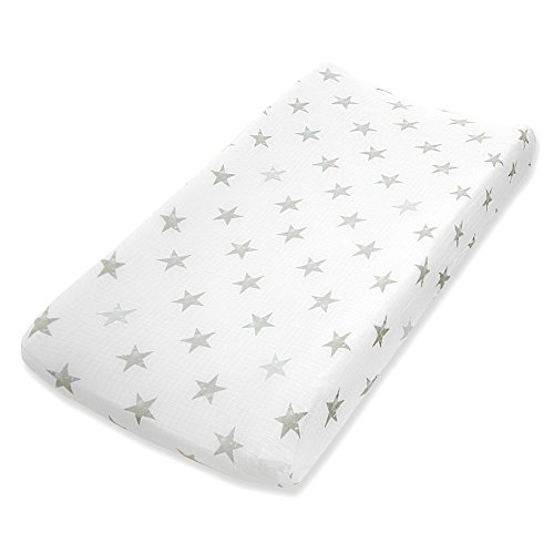 aden by aden + Anais Classic Changing Pad Cover, 100% Cotton Muslin, Super Soft, Breathable, Tailored Snug Fit, Single, Dusty, Stars
