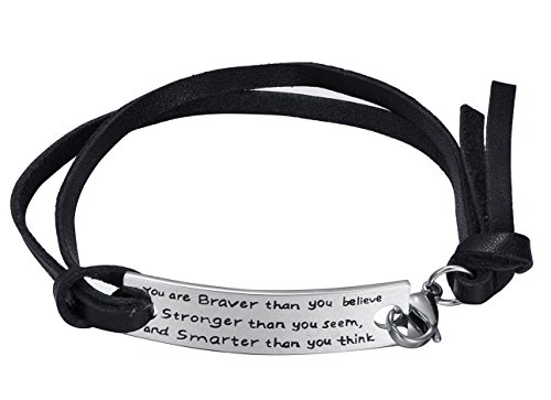 Inspirational Leather Rope Stainless Steel Bracelet