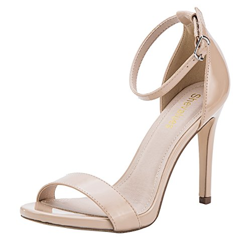 Nude High Heel Stiletto Sandals Women's Open Toe Dress Pumps Classic Single Band Ankle Strape Dress Sandals - Classic Sandals Toe Open