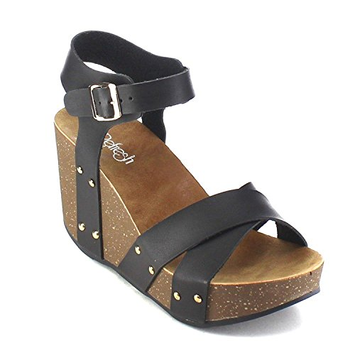 Criss Cross Wedge Sandal - ShoBeautiful Women's Wedge Ankle Strap Sandals Comfort Thick Cork Board Criss Cross Strap Platform Sandal Black 10