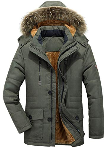 Green Frost Front Thermal - chouyatou Men's Winter Detachable Hooded Frost-Fighter Sherpa Lined Windbreaker Puffer Coat (X-Small, 17Army Green)