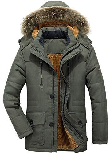 chouyatou Men's Winter Detachable Hooded Frost-Fighter Sherpa Lined Windbreaker Puffer Coat (Large, 17Army Green)