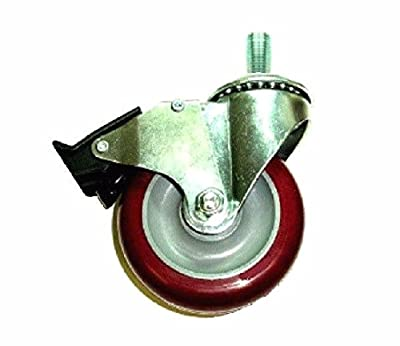 """Colson Caster with Non-Marking 3.5"""" Wheel Total Lock Brake & 5/8"""" Threaded Stem"""