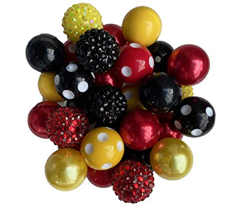 20mm Red, Black, Yellow Chunky Bubble Gum Acrylic Beads 30 Count Bulk Wholesale Pack Necklace Kit(Red, Black, Yellow)
