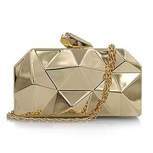 Clutch Handbag Metal Iron Box Cosmetic Bag Chain Gold Crossbody Bag Banquet Silver Shoulder Bags Dress Wallet Waterproof Pocket (17×3×10cm) Gold