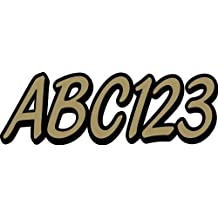 """STIFFIE Whipline Solid Metallic Gold/Black 3"""" Alpha-Numeric Registration Identification Numbers Stickers Decals for Boats & Personal Watercraft"""