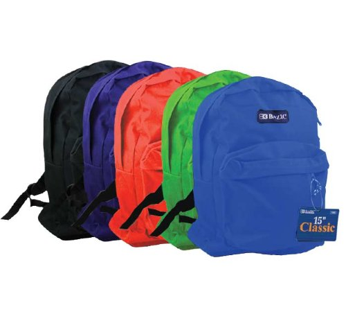 BAZIC 15'' School Backpack, Case Pack 25 by Bazic