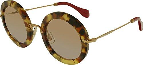 Miu Miu 13NS UA54M2 Sand Light Havana 13Ns Round Sunglasses Lens Category 2 - Aviator Miu Miu