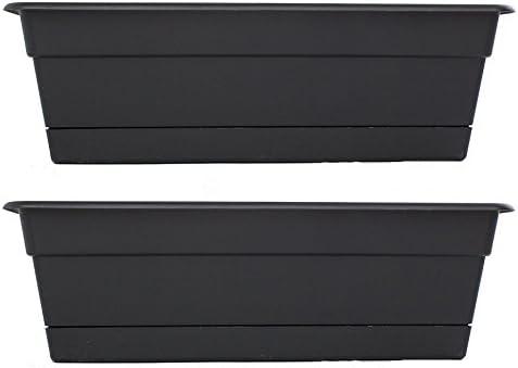 Bloem DCBT24-00 Dura Cotta Plant Window Box Pack of 2 Black 24-Inch
