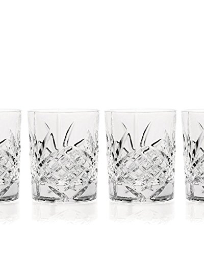 James Scott Double Old Fashioned Crystal Drinking Glasses Set, Irish Cut Design - Set of 4 - 8 Oz by James Scott (Image #4)