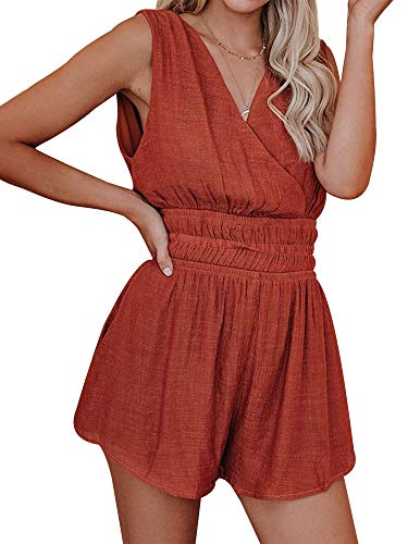 SNRC Women Sleeveless Wrap V Neck Elastic Waist Short Jumpsuit with Pocket Romper Red