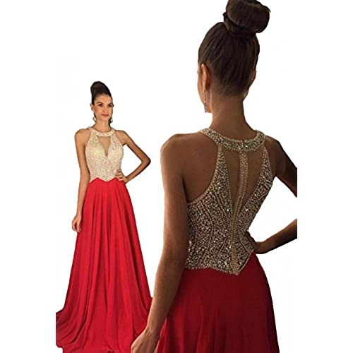 Fanciest Womens Crystal Beaded Prom Dresses 2017 Long Evening Gowns Formal Red US14