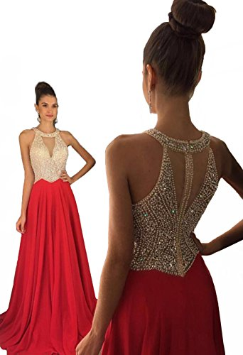 Fanciest Women's Crystal Beaded Prom Dresses 2017 Long Evening Gowns Formal Red US6