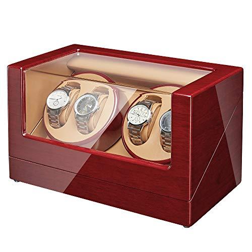 JQUEEN Automatic 4 Wooden Watch Winder with Quiet Motor