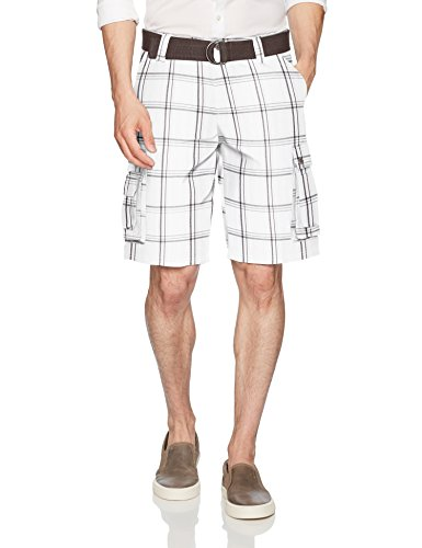 Lee Men's New Belted Wyoming Cargo Short, White Jamestown Plaid, 32