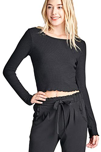Instar Mode Women's Long Sleeves Casual Slim Tees with Lettuce Finish Edge Hem Detail Black M ()