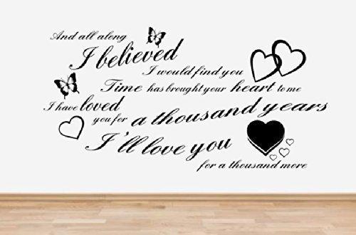 supreme vinyls Christina Perri - A Thousand Years, Song Lyrics Wall Art Sticker Quote **4 SIZES & 16 COLOURS** - sl2 (4 - X Large 100 x 60 cm)